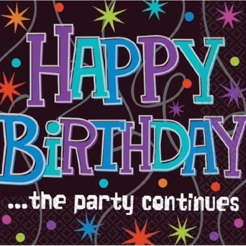 lot de 16 serviettes happy birthday noire/multicolore-décoration anniversaire