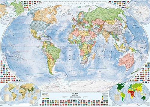Politische Weltkarte, 140x100 cm, deutsch, matt beschichtet, Stand 2018 (Zeitzonen Der Welt-karte)