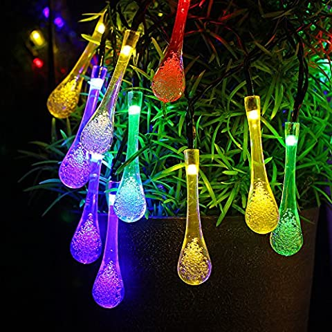 Outdoor Solar String Lights ,Led Fairy Lights For Indoor Outdoor Décor, Christmas Decoration Lights, waterproof,Raindrop-Shaped,Solar Powered,Colorful