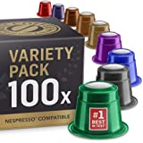 Variety Pack: 100 Nespresso Compatible Pods. Test-Winning Capsules. 9 Different Varieties.