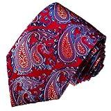 Lorenzo Cana - Marken Krawatte aus 100% Seide - rot blau weiss Paisley Muster - 12034