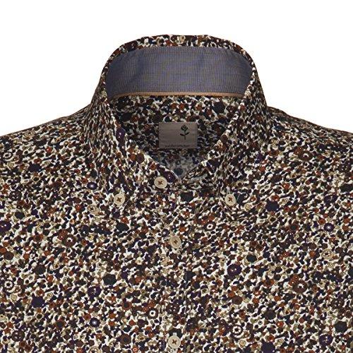 Seidensticker Herren Langarm Hemd Schwarze Rose Slim Fit Button-Down-Kragen mehrfarbig geblümt mit Patch 240676.29 Braun
