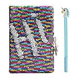 réversible Sequins Agenda avec multipoint Rainbow Pen pour filles garçons A5ordinateur portable avec marque-page Paillettes d'école Licorne bloc-notes 80pages Color notebook