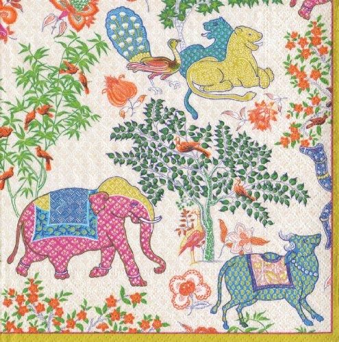 Caspari Les Jardins De Mysore - Servilletas de papel (20 unidades), diseño de animales, multicolor