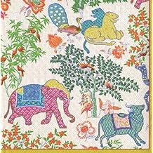 Caspari Les Jardins De Mysore - Servilletas de papel (20 unidades), diseño de