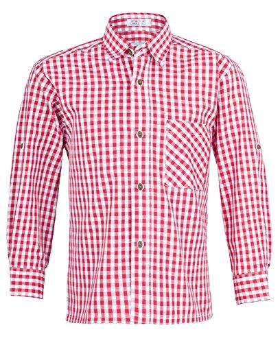 Rot Weiß kariert Gr. 92 - Schönes Trachten Hemd für Kinder in verschiedenen Farben verfügbar - Perfekt zur Lederhose für Buben ()