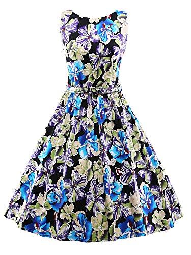 iLover retro Vintage années 50 's Style Audrey floral Rockabilly Swing robe de fête de pique-nique Bleu