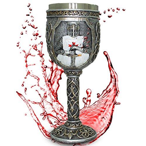 Deko Kelch 'Knight Templar' - Verzierter Kreuzritter-Kelch mit Ornamenten - Höhe 18 cm - Dekoration...