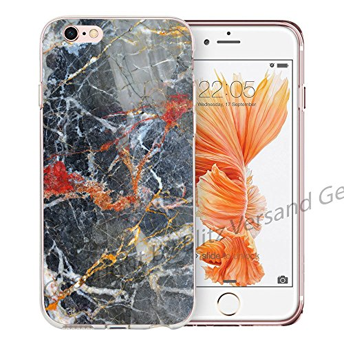 Blitz® MARBRE motifs housse de protection transparent TPE caricature bande iPhone Verre à marbre M11 iPhone 6 6s Graphite M4