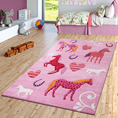 PHC–Alfombra infantil (Caballos Diseño habitación de los Niños Alfombras Rosa Lila, Rosa, 120 x 170 cm