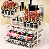 Inditradition Multi-layer Cosmetic & Make Up Organizer Cum Storage Box (Big Size With Multiple Shelves) / Store All Variety At Single Place / Acrylic - Transparent / Ideal For Dressing Table