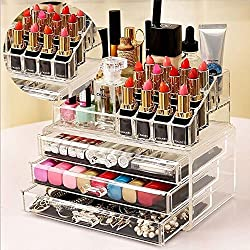 AVMART Cosmetic Organizer Makeup Storage Box Lipstick Holder Stand 3 Drawer, 16 Suction