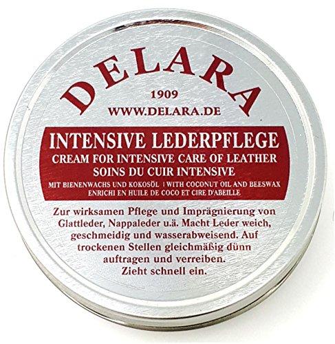 DELARA Intensive Lederpflege - 150 ml farblos - Imprägniert und schützt Leder sehr wirksam, neue Rezeptur mit hochwertigem Kokosöl und Bienenwachs -