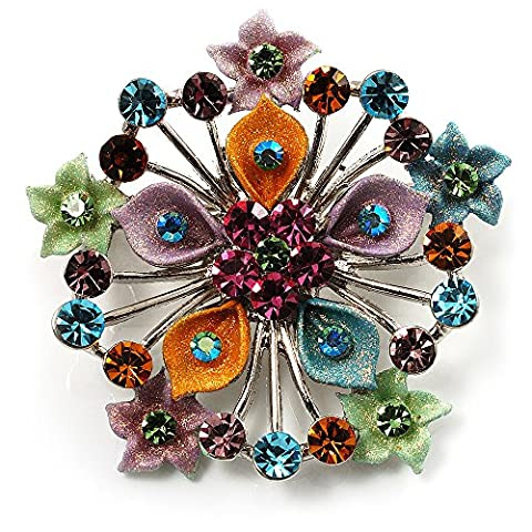 Broche florale Diamante Multicolore Diamanté (Ton