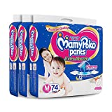 #6: MamyPoko Pants Extra Absorb Medium Size Diapers (74 Count, Pack of 3)