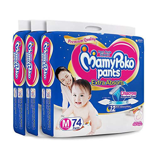 Super Value Pack - MamyPoko Pants extra absorb diapers-Medium Size, (Pack of...