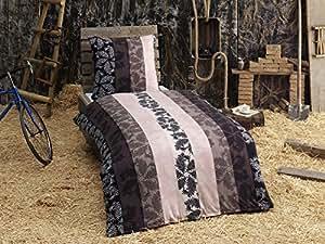 2-Teilig Microfaser Flausch/Fleece Bettwäsche Eric mit Reißverschluss 1x 135x200 Bettbezug + 1x 80x80 Kissenbezug , weich und kuschelig