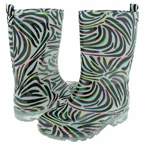Capelli New York Girls Shiny Techno Zebra Printed Jelly Rain Boot