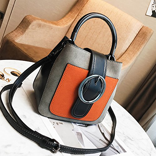 MDRW-Damenhandtaschen Mini Bag Weiblichen Retro Farbe Tragbare Bucket Bag All-Match Single Schultertasche gray