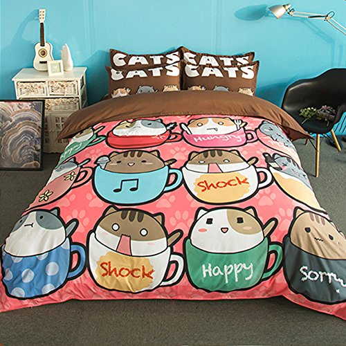 FJLOVE Cartoon Cute Pet Cup Cat Pattern Bedding Set Polyester Fiber Sheet, Quilt Covers & 2 Pillow Cases Environmental Printing Bedspread Quilting Series,220X240cm(King Size),Brown