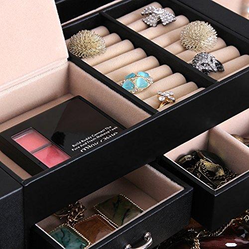 Songmics XXL Schmuckkästchen abschließbar mit spiegel Schublade und Mini-Box 5 Schichten mit 5 Schubladen Schwarz JBC05B - 5