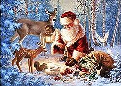 sunnymi 5D Malerei Diamant Weihnachtsmann Chat mit Tiere Weihnachten DIY Kreuzstich Kunstharz Dekoration Haus Wohnzimmer 40 * 30CM
