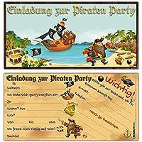 12-24er Set PIRATEN Einladungskarten mit Umschlägen erhältlich - Geburtstag-Einladungen für Jungen / Mädchen Kindergeburtstag Party von BREITENWERK®