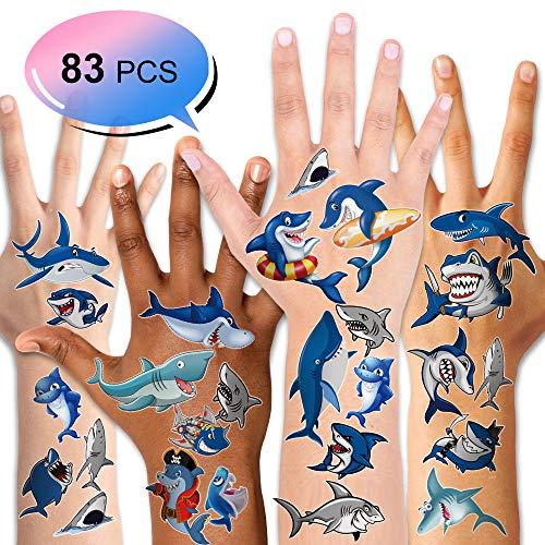 Konsait 10 Blätter Kinder Tattoos Set, Hai Delfine temporäre Tattoos Klebetattoos für Kinder Jungen Kindergeburtstag Mitgebsel geschenktüten Kinder Spielen (Kinder-hai)