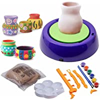 PULSBERY Non-Toxic Plastic Art Pottery Wheel Set Toy with Clay for Kids, Multicolor, 3 Years and up, Pack of 1