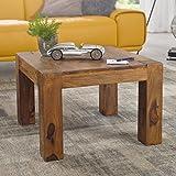 FineBuy Couchtisch Massiv-Holz Sheesham 60 cm breit Wohnzimmer-Tisch Design dunkel-braun Landhaus-Stil Beistelltisch Natur-Produkt Wohnzimmermöbel Unikat modern Massivholzmöbel Echtholz quadratisch