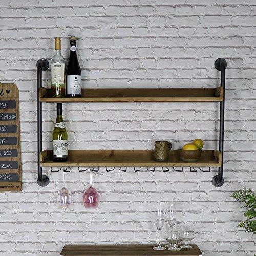 Spirituosen-wand Rack (Melody Maison Rustikal Wand montiert Wein Flasche und Glas Rack)