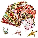Set carta da origami - MOOKLIN ROAM 60 fogli Carta pieghevole da origami giapponese washi carta origami Origami per Bambini fai-da-te varietà Patterns 3 misure,Colore casuale