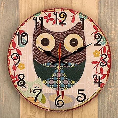 Kklock Horloge murale Mute Mouvement balayage seconde Slient pour le salon Chambre à coucher de cuisine pile AA rétro industriel Night Owl Motif Antique avec tissu Chiffres 35,6cm (batterie non inclus)