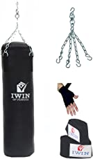I-WIN Unfilled Synthetic Leather Punching Bag With Hand Wrap & Chain Combo Kit