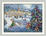YEESAM ART® New Cross Stitch Kits Advanced - Christmas Celebration 14 Count 52x40 cm White Canvas - Needlework Christmas Gifts