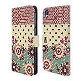Head Case Designs Rosa Creme Blumen Und Punkte Brieftasche Handyhülle aus Leder für HTC Desire 820