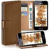 moex Samsung Galaxy S2 | Hülle Braun mit Karten-Fach 360° Book Klapp-Hülle Handytasche Kunst-Leder Handyhülle für Samsung Galaxy S2 / S2 Plus SII Case Flip Cover Schutzhülle Tasche