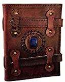 #6: Mangalmurti Handicrafts Pure Genuine Real Vintage Hunter Leather Handmadepaper Notebook Diary with Double Lock and Center Stone For office Home to Write Poem Daily Update - Size 7*5