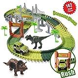 ACTRINIC Slot Auto Rennstrecken-Sets Dinosaurier Spielzeug Jurassic Welt,mit 142 Stück Flexible Strecken 2 Dinosaurier,1 Militärfahrzeuge,4 Bäume,2 Pisten,1 Doppeltür und 1 Hängebrücke autorennbahn für kinder