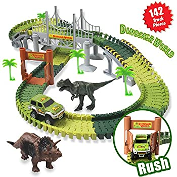 Actrinic Slot Car Race Track Sets Dinosaur Toys Jurassic World With 142 Pieces Flexible Tracks 2 Dinosaurs,1 Military Vehicles,4 Trees,2 Slopes,1 Double-door & 1 Hanging Bridge For Children's Gift 0