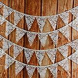 G2PLUS Süße Beidseitig Wimpel Girlande, 10M Bunting Wimpelkette mit 36 STK Farbenfroh Wimpeln für Hochzeits Geburtstag Party (Weiß)