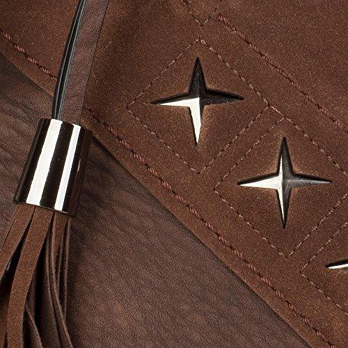 styleBREAKER borsa da shopping con intaglio metallico a forma di stella e nappa, borsa da spalla, borsa a tracolla, borsetta, donne 02012180, colore:Nero Marrone scuro