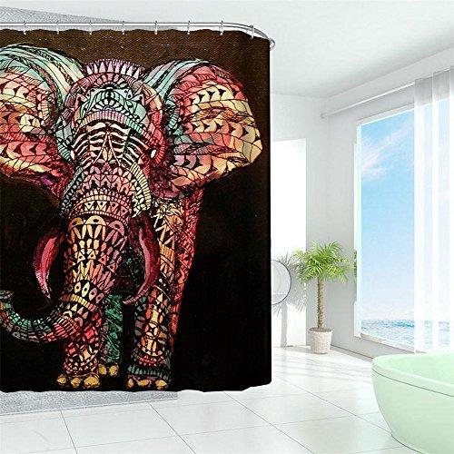 HROOME Duschvorhang – bunter Elefant als Motiv inkl. 12 Haken 180x180cm - 4