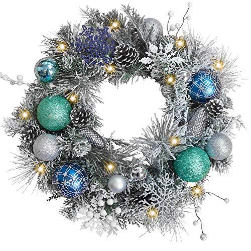 """Valery Madelyn 20"""" Weihnachtskranz 50cm mit 20 LED Beleuchtet batteriebetrieben Türkranz Adventskranz aus PVC mit Fernbedienung und Timer Funktion Silber Blau Außen Weihnachtsdeko für Tür und Fenster"""