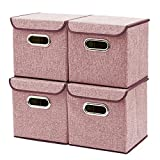 EZOWare 4-Pack Aufbewahrungsbox, 4-Pack Aufbewahrungsbox inkl. Deckel, Cube Aufbewahrungskorb Ordnungsystem Sauraum Boxen Körbe Kisten (Weinrot) - 25x25 cm
