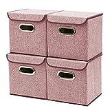 EZOWare Caja de Almacenaje x 4 unidades, Almacenaje Juguetes, Cestos y Cubes, Color Roja