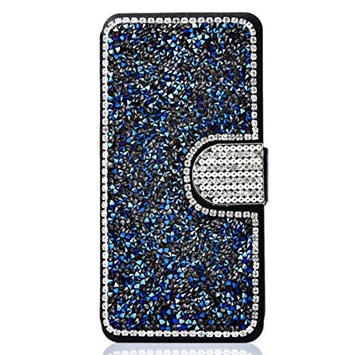 """Cover pour Apple iPhone 7Plus 5.5""""(NON iPhone 7 4.7""""), CLTPY Mignon Paillette Flash Diamond Motif Style Design avec Magnetique et Fente de Carte Full Body Wrap Back Cover Case Couvrir pour iPhone 7Plu Bleu"""