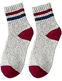 GRHY Otoño/Invierno Mid-Waist College Wind calcetines de lana con pequeños zapatos blancos,un tamaño, Rojo 3 pares