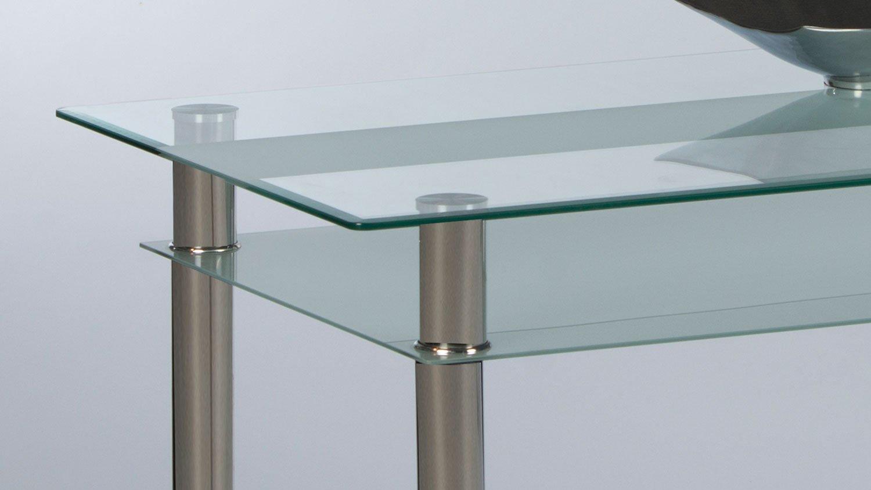 Möbel Akut Esstisch Jackie Glas Küchentisch Ablage Glas sandgestrahlt Füße verchromt