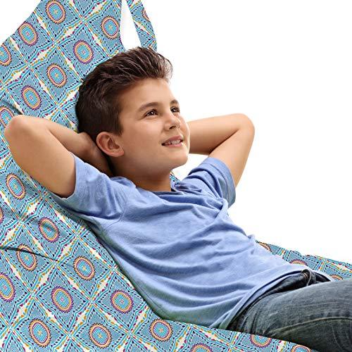 ABAKUHAUS Mandala Unicorn Spielzeugtasche Liegestuhl Lounger Stuhl, Eastern Details der leisen Töne, Hochleistungskuscheltieraufbewahrung mit Griff, Pale Azure Blau Senf